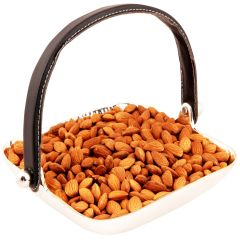 Fathers Day Gifts-Silver Aluminum Square Tray  Handle With Almonds