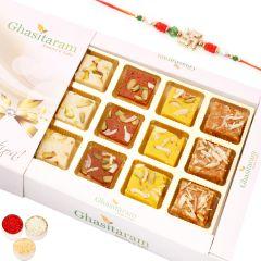 Rakhi Gifts Sweets- Assorted Barfis White Box with Rudraksh Rakhi