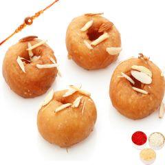 Rakhi Gifts Sweets- Ghasitaram's Delicious  Balushai with Rudraksh Rakhi