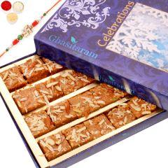 Rakhi Gifts Sweets- Nani's Special Besan Barfi with Oval Rudraksh Rakhi