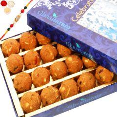 Rakhi Gifts Sweets- Ghasitaram's Special Besan Laddoo with Oval Rudraksh Rakhi