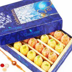 Send Rakhi for Brothers in UK - Ghasitarams Coconut Delight 200 gms with Oval Rudraksh Rakhi
