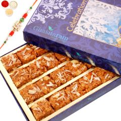 Rakhi Gifts Sweets- Ghasitaram's Special Dodha Barfi with Oval Rudraksh Rakhi