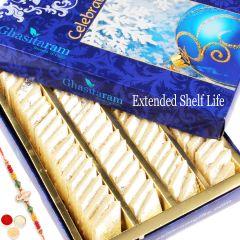 Rakhi Gifts Sweets-Ghasitarams Pure Kaju Katlis Box 250 gms with Rudraksh Rakhi