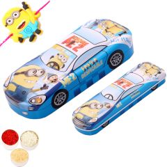 Kids Gifts with Rakhi-Metal Car Pencil Case
