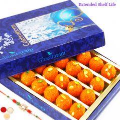 Rakhi Gifts Sweets-Motichoor Laddoo Box (250 gms)  with Rudraksh Rakhi