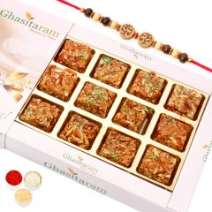 Rakhi Gifts Sweets- Roasted Almond Delight with Rudraksh Rakhi