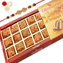 Rakhi Gifts for Brother Abroad - Roasted Almond Delight 18 pcs with Rudraksh Rakhi