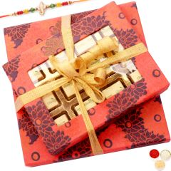 Send online Rakhi Gifts for Brother Abroad - Set of 2 Orange Printed Chocolate and Dryfruit Boxes with Pearl Rakhi