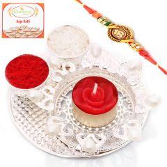 Rakhi Pooja Thalis-Designer Silver Pooja Thali with Om Rakhi