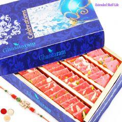 Rakhi Gifts Sweets-Ghasitarams Strawberry Katli 250 gms with Rudraksh Rakhi