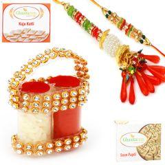 Carry Bag Roli Chawal Container with Bhaiya Bhabhi Rakhi