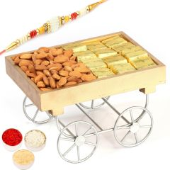 Rakh n Dryfruits for Brother Abroad - Cart Tray with Chocolates, Almonds and Pearl Rakhi