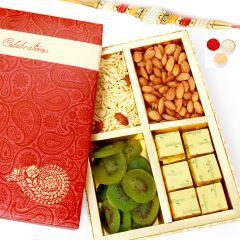 Rakh n Chocolates for Brother Abroad - Celebration Almonds, Namkeen, Kiwi and Chocolate Box with Pearl Rakhi