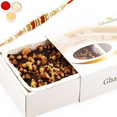 Rakhi Gifts for Brother in UK - Walnut Chocolate Fudge with Rudraksh Rakhi
