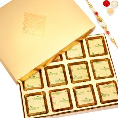 Rakhi Chocolates- Golden 12 pcs Roasted Almond Chocolate Box with Pearl Rakhi