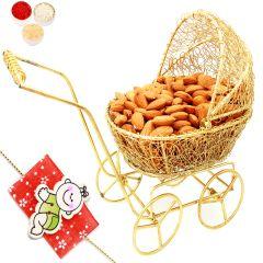 Rakhi Gifts For Brother Rakhi Dryfruits-Golden Baby Almond Cart with Baby  Rakhi