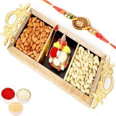 Rakhi Gifts For Brother Rakhi Hampers- Golden Handle Wooden  Almonds, Cashews with Mini Pooja Thali and  Om Rakhi