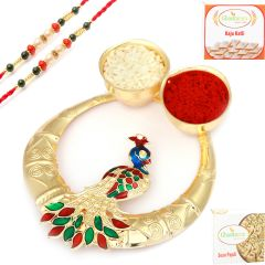 Rakhi online for Brothers in UK - Golden Peacock Roli Chawal Container with 2 Coloured Pearl Rakhis