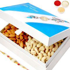Rakhi Gifts For Brother Rakhi Dryfruits-Happy Rakhi Wooden Cashew Almond Box with Pearl Rakhi