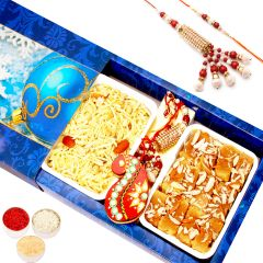 Rakhi Gifts for Brother in UK - Mysore Pak and Namkeen Hamper with Rakhi Set