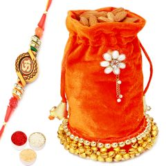 Rakhi Gifts For Brother Rakhi Dryfruits-Orange Velvet Almond Potli with Om Rakhi
