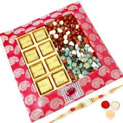 Rakhi Chocolates- Pink Chocolates, Nutties and Stone Chocolates Tray with Pearl Rakhi