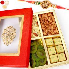 Rakh n Chocolates for Brother Abroad - Red Satin Almonds, Namkeen, Kiwi and Chocolate Box with Om Rakhi