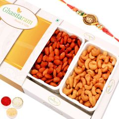 Rakhi Gifts For Brother Rakhi Dryfruits- Salted Cashews and Salted Almonds in White Box with Om Rakhi