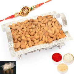 Rakhi Gifts For Brother Rakhi Dryfruits- Silver Mesh  Almonds Tray with Om Rakhi