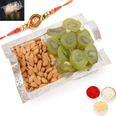 Rakhi Gifts For Brother Rakhi Dryfruits- Silver Mesh  Almonds and Kiwi Tray with Om Rakhi