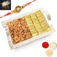 Rakh n Dryfruits for Brother Abroad - Silver Mesh Basket Basket with Chcolates and Almonds with Om Rakhi