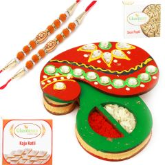 Rakhi online for Brothers in Dubai - Wooden Mango Roli  Chawal Container with 2 Orange Om Rakhis