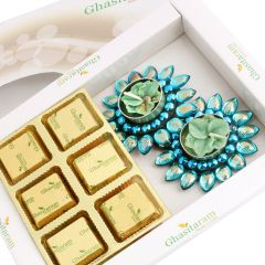 Chocolates- White Box Sugarfree Chocolate hamper with blue T-lites