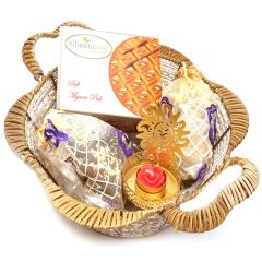 Hampers -  Brown Basket with Mysore Pak, English brittles Chocolates, Roasted Almond Bites Pouch with Om T- Lite