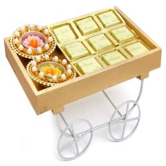 Hampers -  Cart Tray Hamper of Chocolate and Diyas