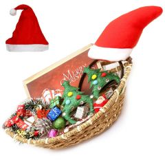 Ghasitaram Gifts Christmas Gifts - Boat Jute Cane Basket with Christmas Chocolate Bar, Christams Dcor, Wreath, Santa Specs and Hairband
