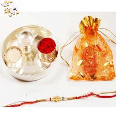 Shop or Gift Ghasitarams Silver Thali with Designer Rakhi - Send to USA Online.