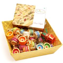 Hampers -  Yellow Basket with Soan Papdi, Toran and Diyas