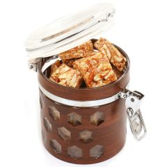 Premium Air Tight Wooden Acrylic Roasted Almond Bites Container