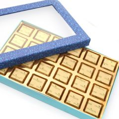 Mother's Day Gifts   Chocolates & Mithais - Mothers Day Gifts- Blue Window 24 Cavity Assorted Sugarfree Chocolates box