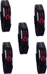 Couples dual time watches - Tuzech Sports Waterproof LED Watch - Set Of 5 ( For Men And Women)