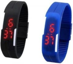 Couples dual time watches - Tuzech New Sports Look Waterproof LED Sports Watch For Men /women - Set Of 2