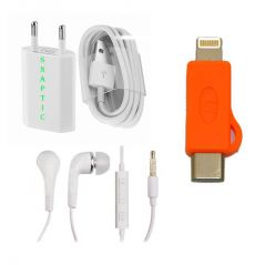 V8 To Type C And Lightning Adaptor With Usb Travel Charger And Earphones With Mic Combo Offer By Snaptic - Mobile Accessories