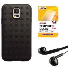 Soft Black Dotted TPU Back Cover For Samsung Galaxy J7 With 2.5D HD Tempered Glass And Noise Cancellation Earpods With Mic By Snaptic