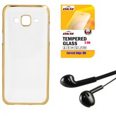 Soft Gold Plated Back Cover For Samsung Galaxy S6 Edge With 2.5D HD Tempered Glass And Noise Cancellation Earpods With Mic By Snaptic
