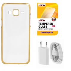 Soft Gold Plated Back Cover For Samsung Galaxy S6 Edge With 2.5D HD Tempered Glass And USB Travel Charger With Mic By Snaptic