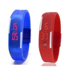 Mango People Watches - Mango People Silicone Rectangular Boys Digital Wrist Watch Band Style LED Pack Of 2 (code - Mp_oled_bl-rd)