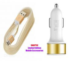 Snaptic Limited Edition Golden Micro USB V8 Cable With Dual Port Car Charger For Videocon A15 Plus