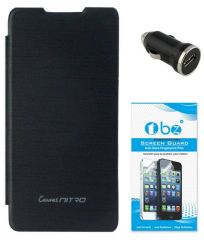 Tbz Flip Cover Case For Micromax Canvas Nitro A310 With Car Charger And Tempered Screen Guard -black
